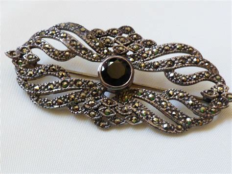 acps deco style sterling silver marcasite black onyx