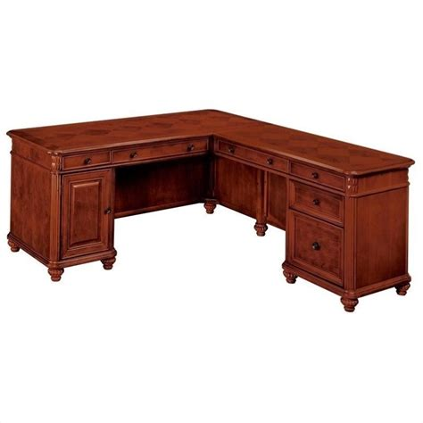 Computer Desk Cherry Wood Flexsteel Antigua L Shaped Computer Desk In Cherry 7480 X