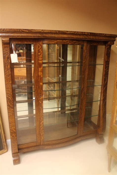 oak cabinets with glass doors american empire tiger oak china curio cabinet with glass