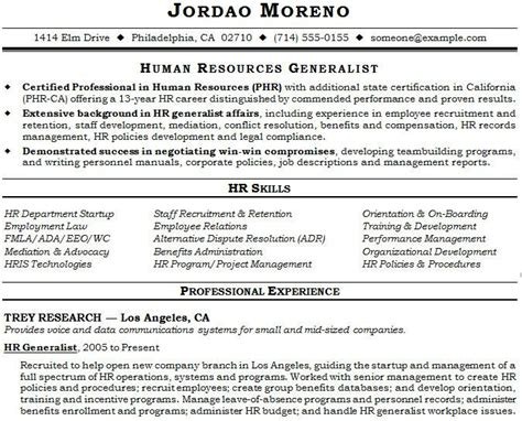 Hr Generalist Resume Exles 10 Best Images About Resume Templates On