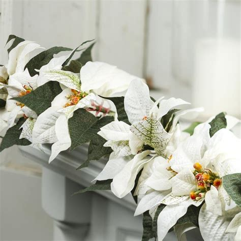 white velvet artificial poinsettia garland garlands