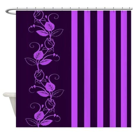 white curtains with purple flowers purple flowers and stripes shower curtain by cheriverymery