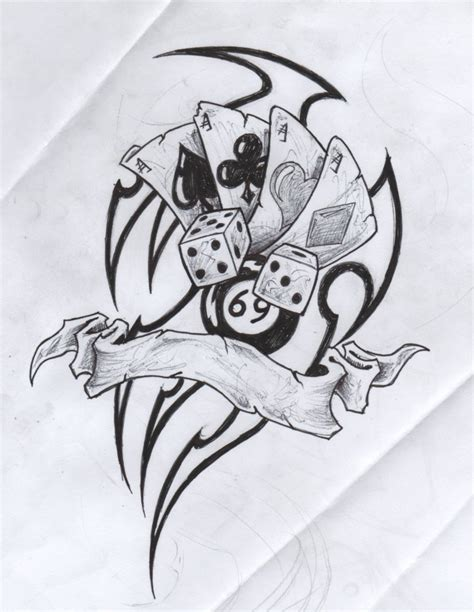 terrific gambling cards dice n 8 ball tattoo drawing for