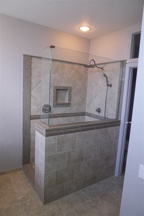 custom walk in showers custom walk in shower samsung quartz mariposa buff delta fixtures tile from arizona tile