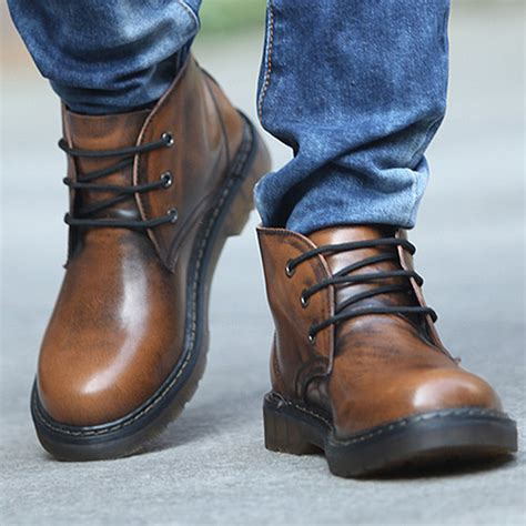 quality mens boots high quality shoes retro genuine leather boots lace up
