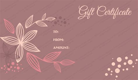 flora gift certificate template get certificate templates