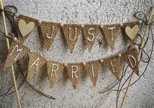 just married bunting template just married rustic cake topper banner hessian wedding