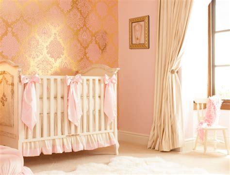 gold wallpaper nursery girl s nursery archives little crown interiors