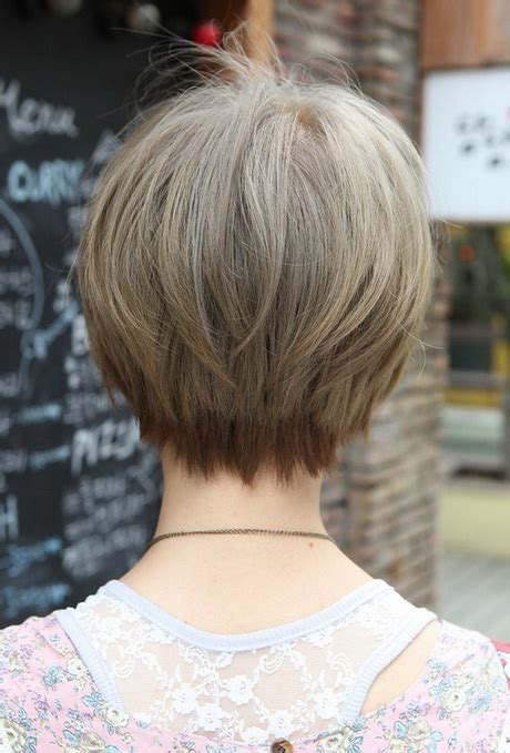 front and back views of chopped hair short hairstyles back view
