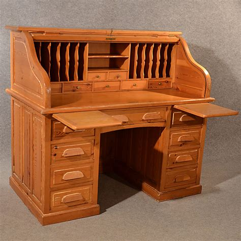Antique Rolltop Bureau Pine Roll Top Tambour Desk