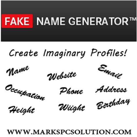 funny fake names create imaginary profiles by fake name generator marks