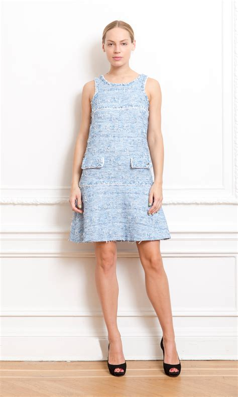 Dres Channel chanel blue tweed dress couture collective