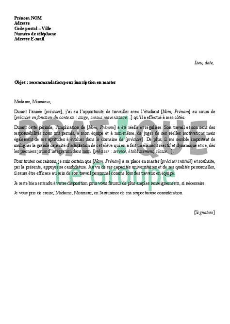 Exemple De Lettre De Recommandation D Un Ami Lettre De Recommandation Pour Une Entr 233 E En Master Pratique Fr