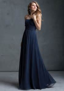Above is a navy blue chiffon strapless bridesmaid dress with floor