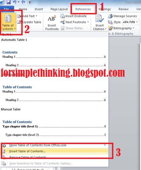 cara membuat halaman pada lembar kerja microsoft word 2010 cara membuat daftar isi otomatis pada lembar kerja