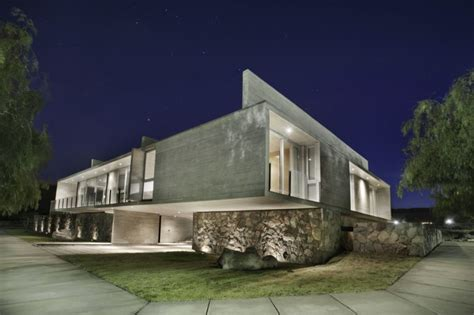 modern house with concrete exterior and base