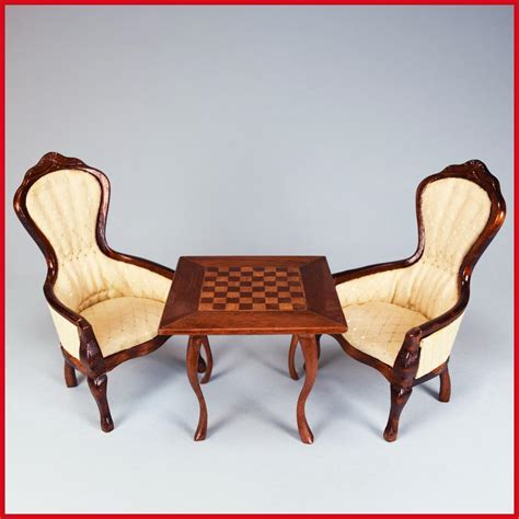 Chess Chairs by Pair Of Concord Miniatures Dollhouse Gents Chairs And Chess Table By From Curleycreekantiques On