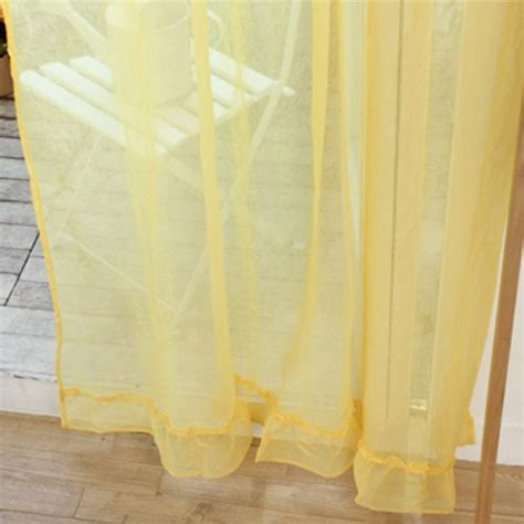 Custom Made Ruffle Sheer Curtain Set, Yellow   Custom Made