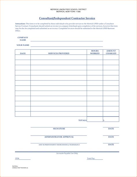 independent contractor receipt template 10 independent contractor invoice template