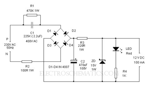 power transformer circuit diagram 12volt transformerless power supply electronic circuit