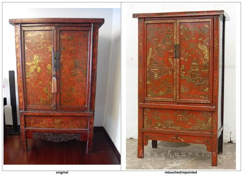 chinese armoire red or black lacquer gilt paintings determining the old from the new on chinese