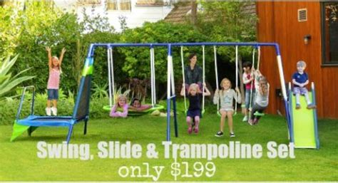 walmart swing sets coupons sportspower mountain view metal swing slide troline