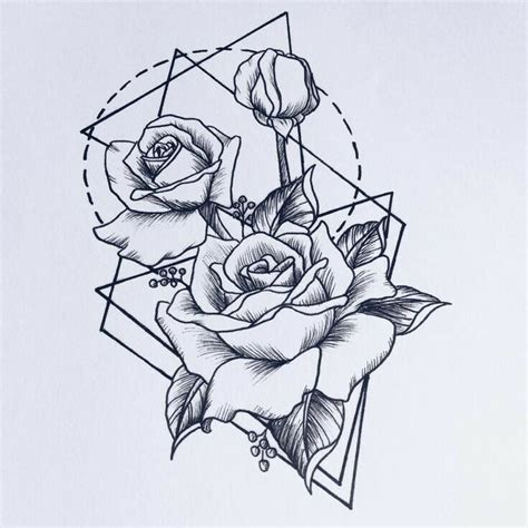 geometric tattoo vorlagen geometric tattoo flower roses tattoos pinterest
