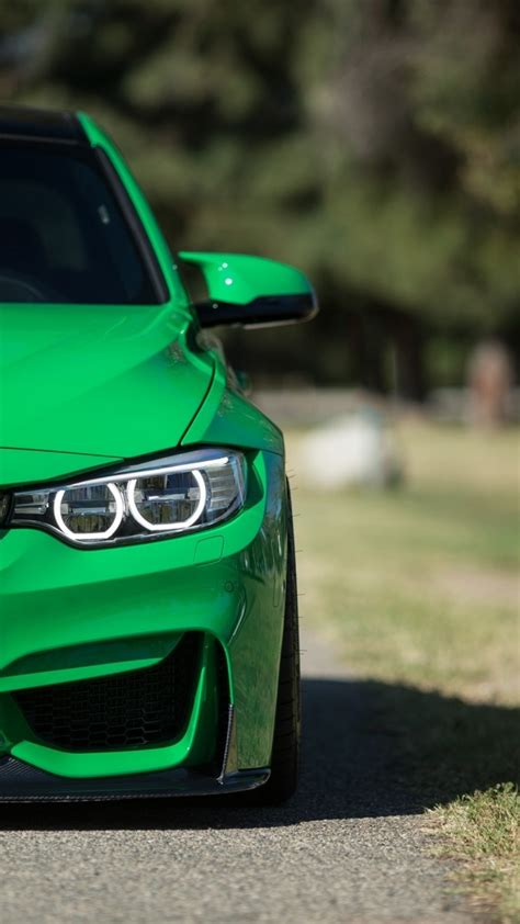 wallpaper for iphone 6 cars download 1080x1920 bmw m3 green half front cars
