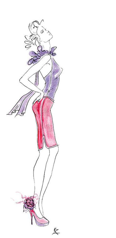 fashion illustration model fashion illustration model in purple top pink skirt and