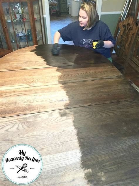 staining dining room table farmhouse inspired dining room table makeover my