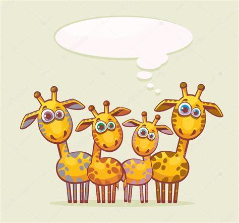 imagenes de jirafas en familia familia de jirafas dibujos animados vector de stock