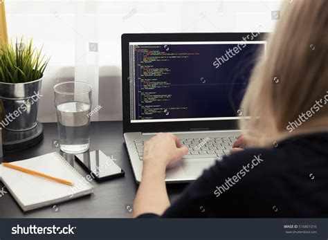 woman freelance programmer working home php stock photo