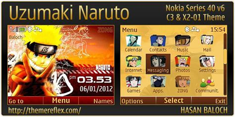 naruto themes for nokia c2 00 uzumaki naruto theme for nokia c3 x2 01 asha 200 201