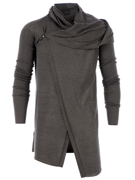 draped cardigan mens rick owens draped asymmetric cardigan in gray for men