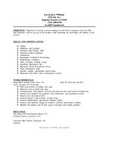 Cna Objective Resume Exles by Cna Resume
