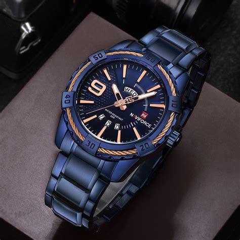 Naviforce Stainless Steel Black Blue naviforce top brand luxury watches blue waterproof