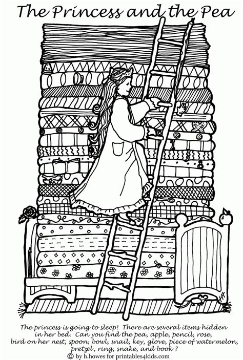 Princess And The Pea To Print And Color Coloring Home Princess And The Pea Coloring Pages Free Coloring Sheets
