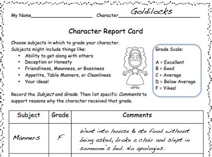 character report card template love2learn2day tale favorites