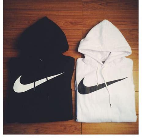 sweater black white nike logo nike swoosh jumpsuit wheretoget