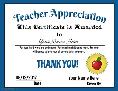 certificate of appreciation for teachers template appreciation award template postermywall