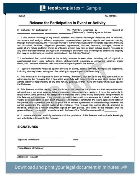 Free Release Of Liability Form Sle Waiver Form Legal Templates Risk Waiver Form Template