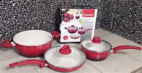 Panci Set Ceramik 5 Pcs Ceramic Cookware Set Alat Masak Panci Keramik Isi 5 Pcs