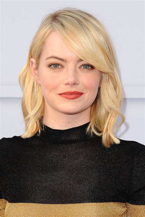 emma stone angled lob 11 hollywood stars with styled lobs that aren t boring