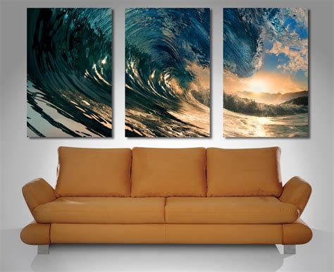 wall paintings crystal wave triptych 3 panel wall art