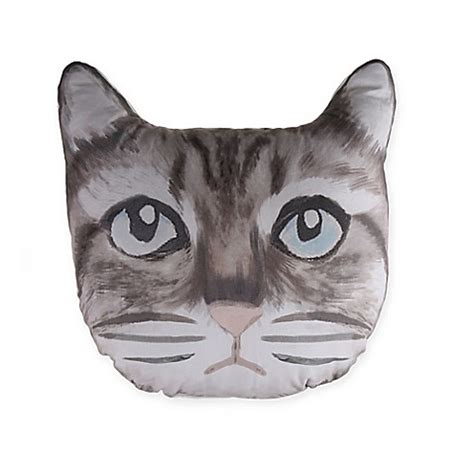 cat pillow bed cat face throw pillow in grey bed bath beyond