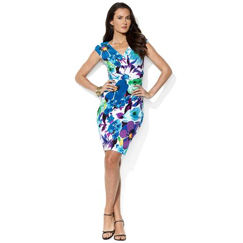 Rl Dress Glowing Blue by ralph by ralph dress cap sleeve floral printed in blue lyst
