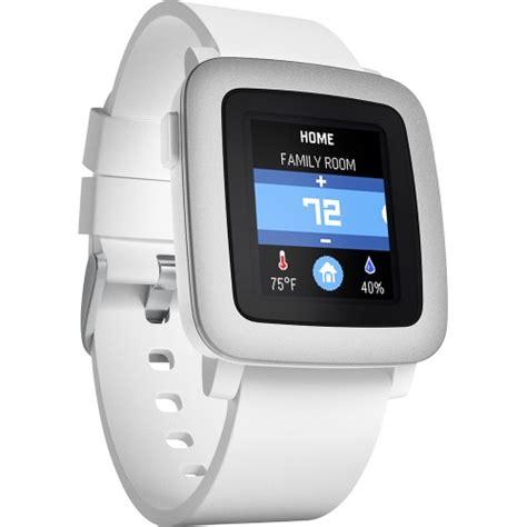 Pebble Time Steel Smartwatch White pebble time smartwatch kompatibel mit android und ios wei 223