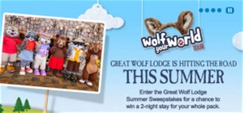 Great Wolf Lodge Sweepstakes - great wolf lodge wolf your world summer sweepstakes win a 2 night stay at a great