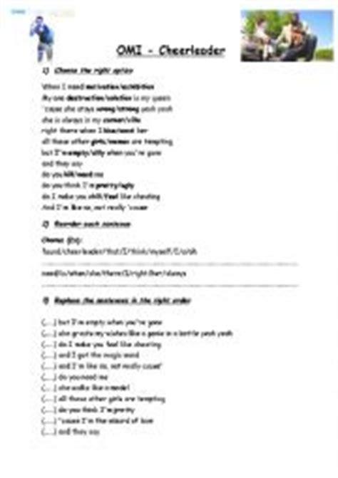 printable lyrics cheerleader omi cheerleader