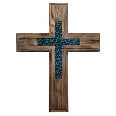Rustic Wooden Crosses Wall Decor by Wood And Turquoise Stones Cross Rustic Wall Decor